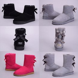 PurPle knee boots online shopping - Cheap High Quality WGG Bowtie Women s Australia Classic knee Boots Ankle boots Black Grey Chestnut Coffee Navy Blue Red Women Girl Snow Boot