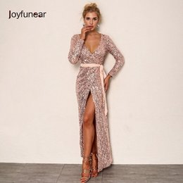 9f32c764f983 Joyfunear Sexy Club Wear Party Dress Womens Pink Gold Knot Deep V Neck  Twist Front High Slit Long Sleeve Sequin Maxi Dress Q190409