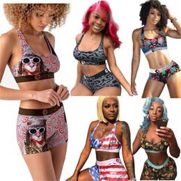 2020 summer Women Swimsuit 2 Piece Bikini Set Vest Tank Top Bra + Shorts Swimming Swim Suit USA Striped Patchwork Beach Swimwear D52701 on Sale