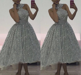 $enCountryForm.capitalKeyWord Australia - 2019 Charming Silver Sequins Prom Dresses Halter Plus Lace Sleeveless Soft Fitting Hi-Low High Quality Cocktail Party Dresses