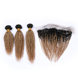 honey blonde virgin curly hair UK - Dark Root #1B 27 Honey Blonde Ombre Indian Virgin Human Hair Weave Bundles with Light Brown Ombre 13x4 Lace Frontal Closure 4Pcs Lot