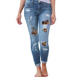 $enCountryForm.capitalKeyWord Australia - Womens Plus Size High Waist Skinny Jeans Solid Leopard Patchwork Irregular Ribbed Holes Long Pencil Pants Casual Stretch Slim