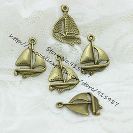 Boat Charms Australia - Sweet Bell Free Shipping 18*24mm Antique Bronze Sailing Boat Charms Pendants sold per packet of 240pcs D0520