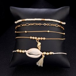$enCountryForm.capitalKeyWord NZ - Fashion 5 pcs Set Shell Bracelet Gold Color Link Chain Conch Tassel Braslet Set Small Seed Beads Braclet For Women Girls Jewelry