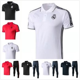 dfa8764d 19 20 Real Madrid adult polo shirts 18 19 men's short sleeve football  tracksuits long trousers warms up training suits