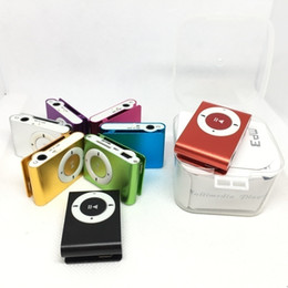 Mini Mp3 player without online shopping - 8 colors Mini Clip MP3 Player with usb cable earphone Plastic box Packaging without Screen Support Micro TF SD Card Music Players