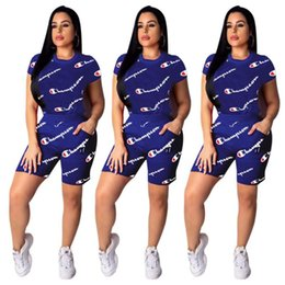 $enCountryForm.capitalKeyWord Australia - Women Champions Letter Tracksuit Short Sleeve T shirt + Shorts Pants Summer Outfits 2 Piece Sportswear Jogger Clothes suits 2019 S-2XL