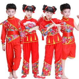 Boy Chinese Suit Australia - Red Hanfu Yangko Dance Costume Classic Boys Girls Stage Performance Clothes Suit Printed Chinese Folk Dancing Costume