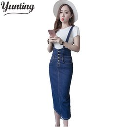 b545f4fe8 Autumn Summer Women High Waist Jean Stretch Slim Split Sexy Pencil Skirts  Womens 2019 Plus Size Long Denim Skirt Skinny C19041201