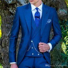 $enCountryForm.capitalKeyWord Australia - Royal Blue Wedding Tailcoat for Groom Men Suits 2019 Three Piece Peaked Lapel Custom Made Jacket Pants Double Breasted Waistcoat