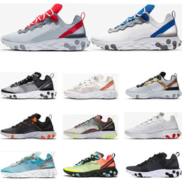 Discount gym shoes for men - 2019 react element 55 running shoes for men womens Jade Solar Red triple black white Royal Red sports sneakers trainers
