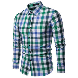 trends for spring 2019 - good quality Spring Shirt Of Men Casual Coloured Checked Long Sleeves Fashion Trend Biouse Mens Clothing 2019 Hawaiian S