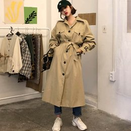 Wholesale vintage trench coats for women for sale - Group buy Vintage Khaki long trench coat for women temperament overcoat female autumn trend waist belt women s Windbreaker FY41