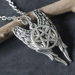 $enCountryForm.capitalKeyWord NZ - Supernatural Necklaces Evil Force Pentagram Pendant Necklace Antique Silver Pentagram Pentacle Angel Wings Pendant Charms
