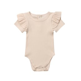 One Sleeve Ruffle Jumpsuit UK - 0-24M Newborn Infant Kid Baby Boy Girl Bodysuit Cotton Short Sleeve Ruffle One-piece Jumpsuit Playsuit Comfy Outfit Baby Clothes