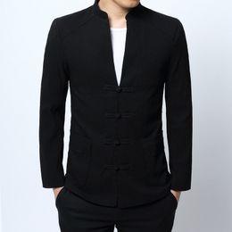 8c29ac934 #4026 Chinese Style Clothing Blazer Men Plus Size 4XL Black Slim Fit  Mandarin Collar Blazer Homme Vintage Men Coat Suit Fashion