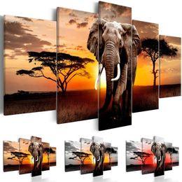 $enCountryForm.capitalKeyWord Australia - 5Pcs Sunset Elephant Large Landscape Painting Canvas Picture Prints for Home Living Room Decor (Color: Multicolor)