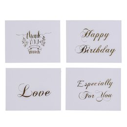 $enCountryForm.capitalKeyWord UK - 10pcs Letter Greeting Cards Mini Gold Embossed Thank you Card Valentine Happy Birthday Christmas Party Wedding Invitation
