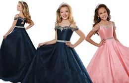 Red long dResses foR gRaduation online shopping - Pearls Rhinestones Beads Pink Navy Blue Little Girls Pageant Dresses Off Shoulder Beaded Straps Flower Girl Dress For Wedding Long Cheap