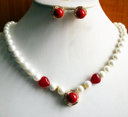pearl sets Australia - Prett Lovely Women's Wedding wedding jewelry set charm 8mm white pearl necklace dotted with red gem match 14mm red pearl earring
