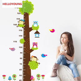 $enCountryForm.capitalKeyWord Australia - DIY Home Decor owl monkey butterfly flower tree growth chart Wall Stickers Living Room Waterproof Removeable Wallpapers