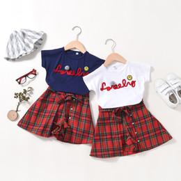 $enCountryForm.capitalKeyWord Australia - Summer female baby Korean version of the girl set of foreign short-sleeved t-shirt plaid skirt two-piece children's clothing
