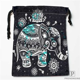 Black Swimming Toys Australia - Custom Printing Black Elephant Drawstring Shopping Bags Travel Storage Pouch Swim Hiking Toy Bag Unisex Multi Size18-12-31-05