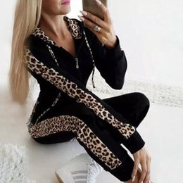 Discount female sexy white pant 2020 Set Female Leopard Print tracksuits women sexy Casual Sweatshirt Two-Piece Baseball Jacket Women Jogging Pants Suits#1105g5