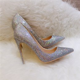 Shoes For Women Free Shipping Australia - 2019 Free shipping fashion women shoes Glitter sequined Point toe thin heels High Heels Pumps Stilettos Shoes For Women 120mm