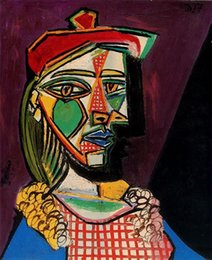 Handpainted dresses online shopping - Pablo Picasso Classical Oil Painting Woman In Beret And Checked Dress Handmade By Experienced Painter On White Canvas Picasso999