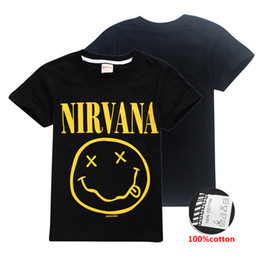 2a767398f New Designs Nirvana Smiley Face Kids T shirts 100% Cotton 6-14y Kid Boys  Black tee shirt kids designer clothes boys SS252