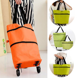 Trolley ToTe bag online shopping - Shopping Trolley Bag Portable Oxford Foldable Tote bag Shopping Cart Reusable Grocery Bags Wheels Rolling Organizer