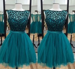 Cheap Sheer Top Prom Dress Australia - 2019 Real Photo Teal Sheer Neck Short Graduation Prom dresses Hollow Back Tulle Beading Top Cheap Evening Homecoming Party Dress Cheap