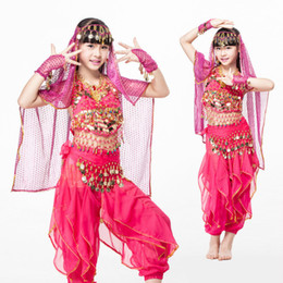 e69d0b6c64 Children's Belly Dance Costume Girl Indian Dance Clothes Professional National  Dancing Stage Suit Kids Practice Garment H4527