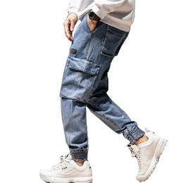 Hip Hop Stretch Pants NZ - Men's jeans loose Plus size Harlan hip hop jeans men's 2019 new soft stretch beam foot handsome street multi-pocket pants men