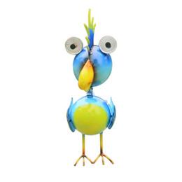 Ingrosso Luci da giardino solari, decorazioni animali, statue in metallo blu con pappagalli, luci a LED per giardini, cortili, cortili, idee