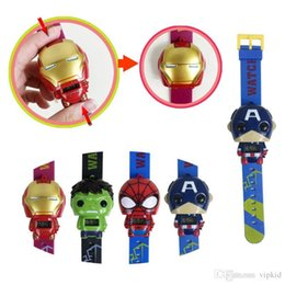 Wholesale Cute Kids deformation watches New Children Superhero movie America Iron Man Spiderman Hulk Watch toys C