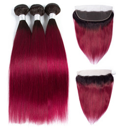 China Ombre Bundles With Frontal Closure T1b Burg Brazilian Hair Weave 3 Bundles With Frontal Ear to Ear Lace Frontal Closure 1B Burgundy 4pcs lot supplier burgundy ombre hair bundles closure suppliers