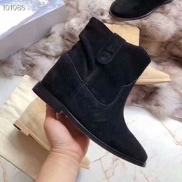 name boots 2020 - International big name designer Gao Siguang cattle anti-velvet apricot black female ankle boots fashion work boots incre