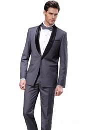 cheap blue tuxedos UK - Cheap And Fine One Button Groomsmen Shawl Lapel Groom Tuxedos Men Suits Wedding Prom Dinner Best Man Blazer(Jacket+Pants+Tie) A258