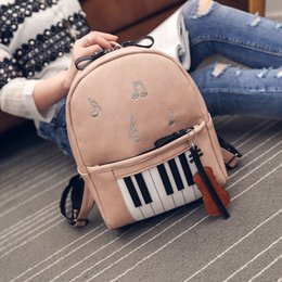 pu leather book bag Australia - Pink Women Leather Backpack Piano Embroidery Musical Note Violin Rucksacks for Teenage Girls Piano Pattern Fashion Backpacks Female Book Bag