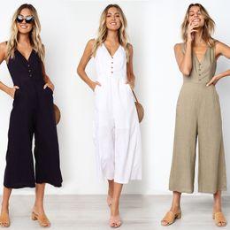$enCountryForm.capitalKeyWord Australia - Summer Loose Cotton Button Pocket Deep V Neck Wide Leg Jumpsuits For Women 2019 Rompers Womens Jumpsuit MX190726