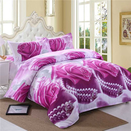 cream bedding Australia - Purple Rose Flower Bedding Sets Adult Boy Girls Lover Duvet Cover Sets 4pcs Bed Linens Bed Sheet Pillowcase Twin Queen King Size