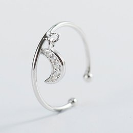 Christmas Gifts Female Australia - 100% Genuine 925 Sterling Silver Open Rings Moon Dangle Female Ring for Women 2019 Fine Jewelry Christmas Gift YMR483