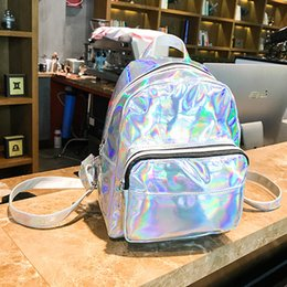 $enCountryForm.capitalKeyWord Australia - Women School Shiny Laser Mini Travel Student Cute Ladies Leather Hologram Backpacks Silver Small Holographic Backpack 362