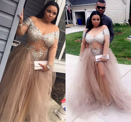 $enCountryForm.capitalKeyWord UK - Bling Bling Sexy Champagne Plus Size Prom Dresses Black Girls 2020 Off Shoulder Long Sleeve Crystal Beaded Ruffle Evening Gowns Pageant