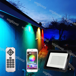 Wholesale LED Flood Light RGB 30W 50W 100W 220V APP Remote Control Bluetooth Smart House Floodlights IP66 Outdoor LED Spotlight DHL