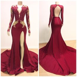 $enCountryForm.capitalKeyWord Australia - Hot Sale Arabic Gold Appliques Prom Dresses Mermaid Vintage Long Sleeves Sexy High Thigh Split Black Girls Evening Gowns