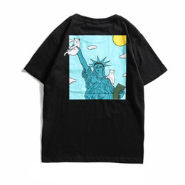 black cat t shirt NZ - Hip Hop Mens Designer Statue of Liberty Black T Shirt Famous Cat Printed Womens Tshirts Funny Tee Shirts Tops Couple Unisex T Shirt