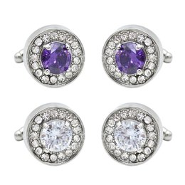 $enCountryForm.capitalKeyWord Australia - Fashion Round Purple Crystal Cufflinks For Men Simple Shirt Button Tacks Geometric Alloy Silver Plated Dress Jewelry Accessories Wholesale